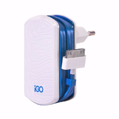 Picture of Trade iGo Wired Mfi Apple 30 Pin EU 1A Mains Charger in White/Blue