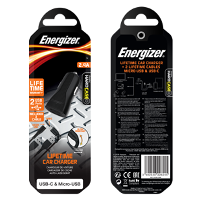 Picture of Energizer Fast Car Charger & USB C,Micro USB Cable